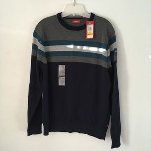 NWT Izod Sweater Navy with Gray and Teal stripes.